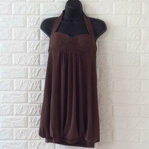 BCBGMaxAziria brown halter bubble hem dress